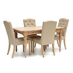 Willis & Gambier - Oak 'Worcester' fixed top table and 4 beige 'Stanza' chairs