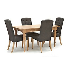 Willis & Gambier - Oak 'Worcester' fixed top table and 4 charcoal grey 'Stanza' chairs