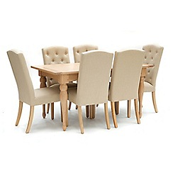Willis & Gambier - Oak 'Worcester' fixed top table and 6 beige 'Stanza' chairs