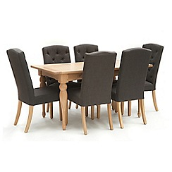 Willis & Gambier - Oak 'Worcester' fixed top table and 6 charcoal grey 'Stanza' chairs