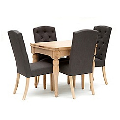 Willis & Gambier - Oak 'Worcester' flip-top table and 4 charcoal grey 'Stanza' chairs