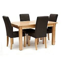 Willis & Gambier - Ash 'Denver' medium extending table and 4 grey 'Harlequin' chairs