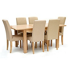 Willis & Gambier - Ash 'Denver' medium extending table and 6 cream 'Harlequin' chairs