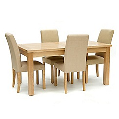 Willis & Gambier - Ash 'Denver' large extending table and 4 cream 'Harlequin' chairs