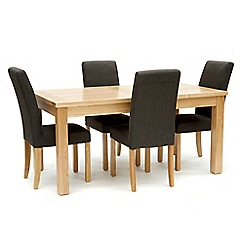Willis & Gambier - Ash 'Denver' large extending table and 4 grey 'Harlequin' chairs