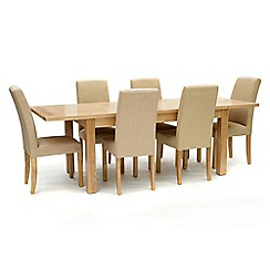 Willis & Gambier - Ash 'Denver' large extending table and 6 cream 'Harlequin' chairs