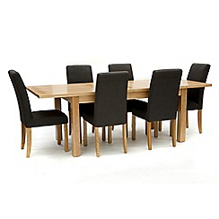 Willis & Gambier - Ash 'Denver' large extending table and 6 grey 'Harlequin' chairs