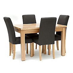 Willis & Gambier - Ash 'Denver' small extending table and 4 grey 'Harlequin' chairs