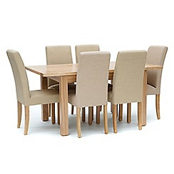Willis & Gambier - Ash 'Denver' small extending table and 6 cream 'Harlequin' chairs