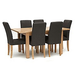 Willis & Gambier - Ash 'Denver' small extending table and 6 grey 'Harlequin' chairs