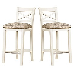 Debenhams - Pair of painted 'Wadebridge' bar stools with printed fabric seats