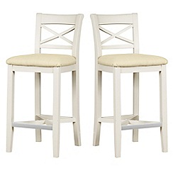 Debenhams - Pair of painted 'Wadebridge' bar stools with cream fabric seats