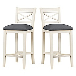 Debenhams - Pair of painted 'Wadebridge' bar stools with grey fabric seats