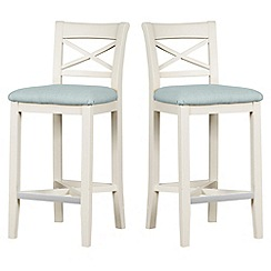 Debenhams - Pair of painted 'Wadebridge' bar stools with blue fabric seats