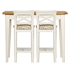 Debenhams - Oak and painted 'Wadebridge' breakfast bar and 2 bar stools with printed fabric seats
