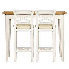 Debenhams - Oak and painted 'Wadebridge' breakfast bar and 2 bar stools with cream fabric seats