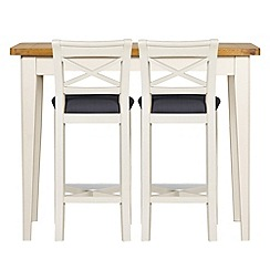 Debenhams - Oak and painted 'Wadebridge' breakfast bar and 2 bar stools with grey fabric seats