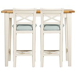 Debenhams - Oak and painted 'Wadebridge' breakfast bar and 2 bar stools with blue fabric seats