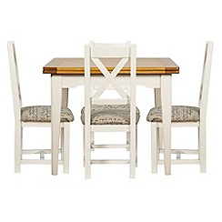 Debenhams - Oak and painted 'Wadebridge' flip-top table and 4 chairs with printed fabric seats