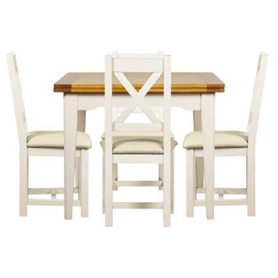 Debenhams Oak And Painted Wadebridge Flip Top Table 4 Chairs With Cream Fabric Seats