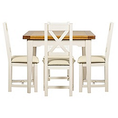Debenhams - Oak and painted 'Wadebridge' flip-top table and 4 chairs with cream fabric seats