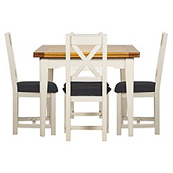 Debenhams - Oak and painted 'Wadebridge' flip-top table and 4 chairs with grey fabric seats