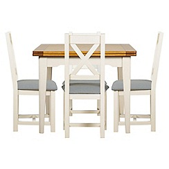 Debenhams - Oak and painted 'Wadebridge' flip-top table and 4 chairs with blue fabric seats