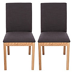 RJR.John Rocha - Pair of oak 'Trinity' dining chairs with charcoal grey seats