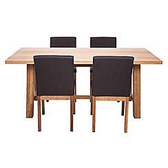 RJR.John Rocha - Oak 'Trinity' fixed-top table and 4 chairs