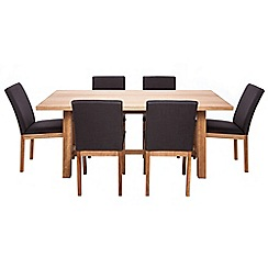 RJR.John Rocha - Oak 'Trinity' fixed-top table and 6 chairs