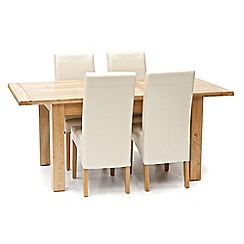 Willis & Gambier - Oak 'Normandy' rectangular fixed-top table and 4 cream 'Fletton' chairs