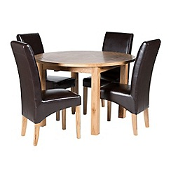 Willis & Gambier - Oak 'Normandy' round fixed-top table and 4 brown 'Fletton' chairs