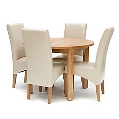 Willis & Gambier - Oak 'Normandy' round fixed-top table and 4 cream 'Fletton' chairs