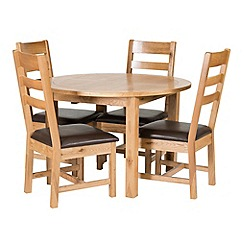 Willis & Gambier - Oak 'Normandy' round fixed-top table and 4 ladder back chairs