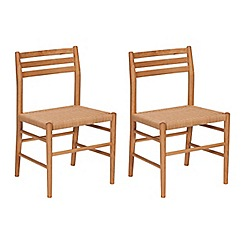 J by Jasper Conran - Pair of oak 'Farringdon' dining chairs with natural woven seats