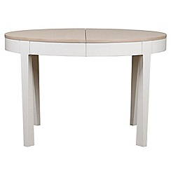 Debenhams - White-washed oak and painted 'Nord' round extending table