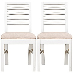 Debenhams - Pair of white 'Nord' dining chairs with beige fabric seats