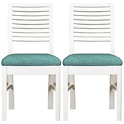 Debenhams - Pair of white 'Nord' dining chairs with blue fabric seats