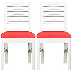 Debenhams - Pair of white 'Nord' dining chairs with red fabric seats