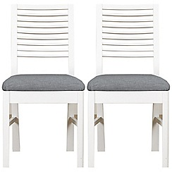 Debenhams - Pair of white 'Nord' dining chairs with grey fabric seats