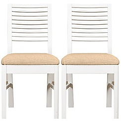 Debenhams - Pair of white 'Nord' dining chairs with ivory fabric seats