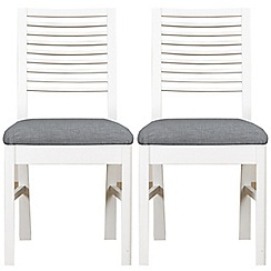 Debenhams - Pair of white 'Nord' dining chairs with light grey fabric seats