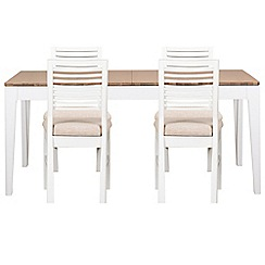 Debenhams - White-washed oak and painted 'Nord' large extending table and 4 chairs with beige fabric seats