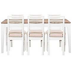 Debenhams - White-washed oak and painted 'Nord' large extending table and 6 chairs with beige fabric seats