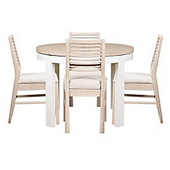Debenhams - White-washed oak and painted 'Nord' round extending table and 4 chairs with beige fabric seats