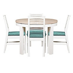 Debenhams - White-washed oak and painted 'Nord' round extending table and 4 chairs with blue fabric seats