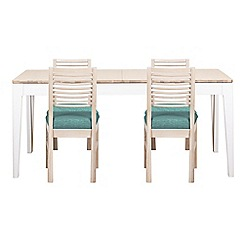 Debenhams - White-washed oak and painted 'Nord' large extending table and 4 chairs with blue fabric seats