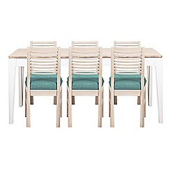 Debenhams - White-washed oak and painted 'Nord' large extending table and 6 chairs with blue fabric seats
