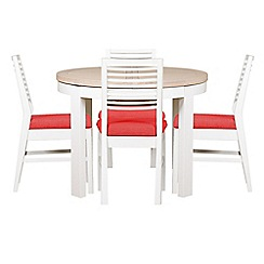 Debenhams - White-washed oak and painted 'Nord' round extending table and 4 chairs with red fabric seats
