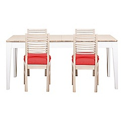 Debenhams - White-washed oak and painted 'Nord' large extending table and 4 chairs with red fabric seats